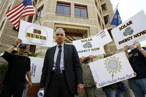 Independent presidential candidate Ralph Nader speaks during a news conference outside of the Nuclear Energy Institute in Washington.